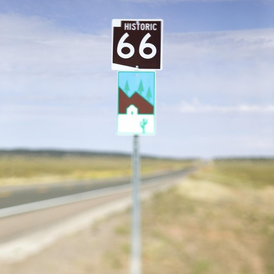Old Route 66 takes travelers through scenic Arizona roadside attractions.