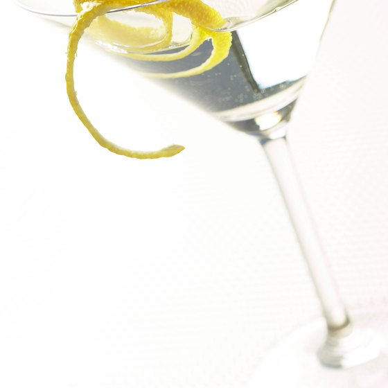Martinis are traditionally garnished with an olive or lemon twist.
