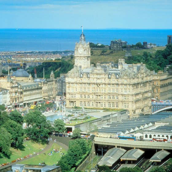 Trains from London to Edinburgh arrive at Waverley Station, next to the impressive Balmoral Hotel.