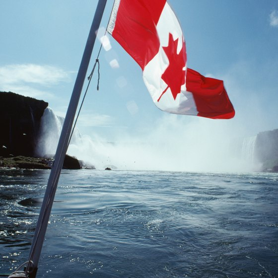 Visitors cross the border to see the Canadian side of Niagara Falls.