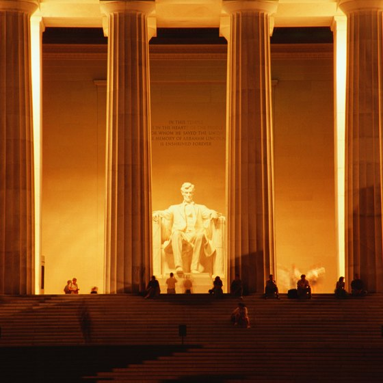 The Lincoln Memorial after dark.