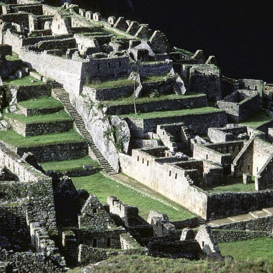 The steps at Machu Picchu lead to Inca palaces and temples.