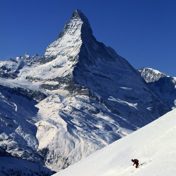 The Matterhorn looms above the village of Zermatt.