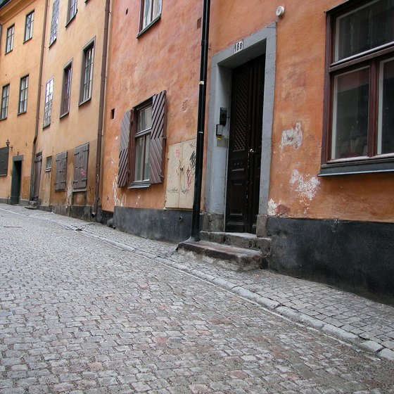 Cobblestone streets in Stockholm give city an Old World ambiance.