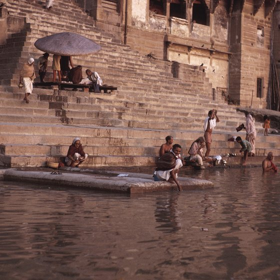 Hindus bathe in the Ganges River.
