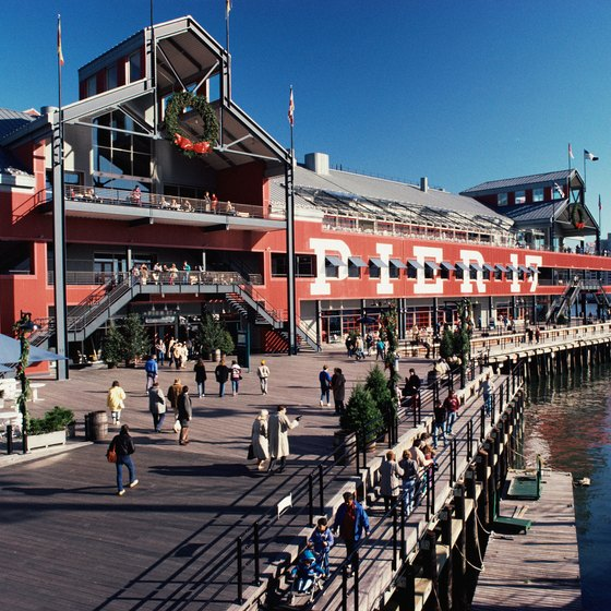 The South Street Seaport features restaurants, shops and a clear view of the Brooklyn Bridge.