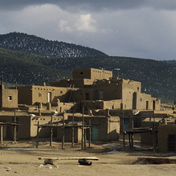 The Taos Pueblo sits at the foot of the Rocky Mountains.