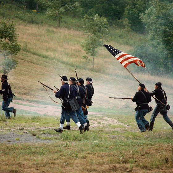 Re-enactments of Civil War battles are common at many nationally protected historic battlefield sites.