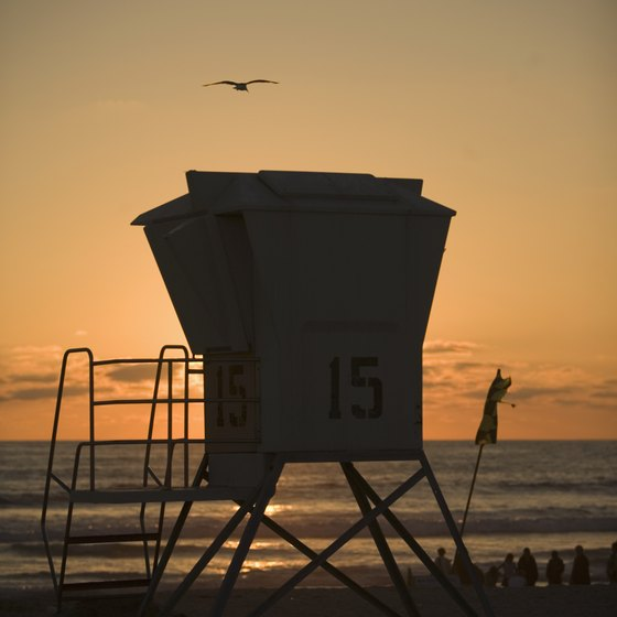 The sun sets on Ocean Beach, one of San Diego's 24-hour beaches.