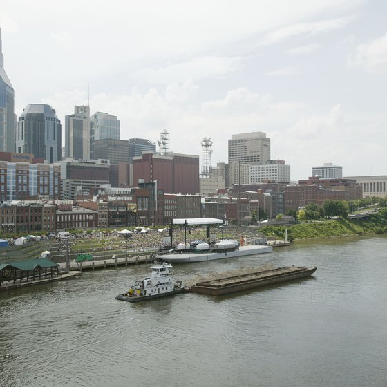 Lower Broadway is a tourist center in downtown Nashville that ends at the Cumberland River.