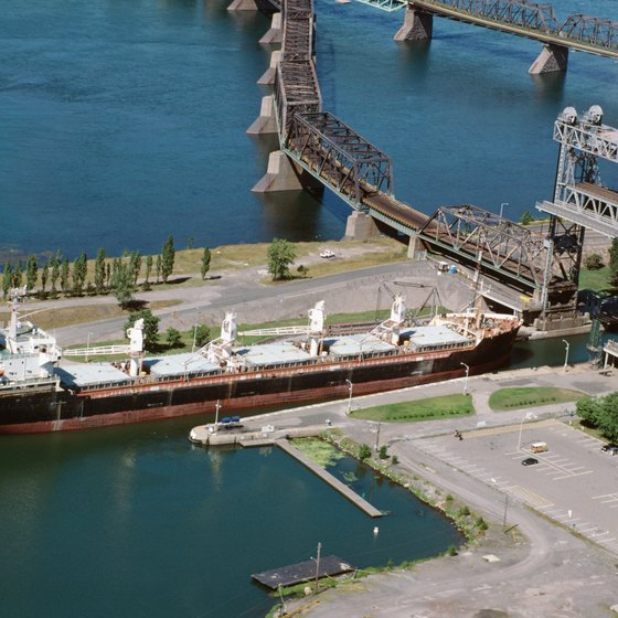 Ride through the Soo Locks alongside freighters on smaller tour boats.
