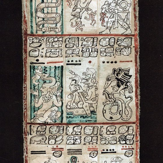 Mayan tablets, decorated with ancient hieroglyphics, can be seen at some ruins.