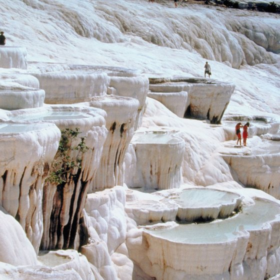 Pamukkale's distinctive look is due to mineral deposits.