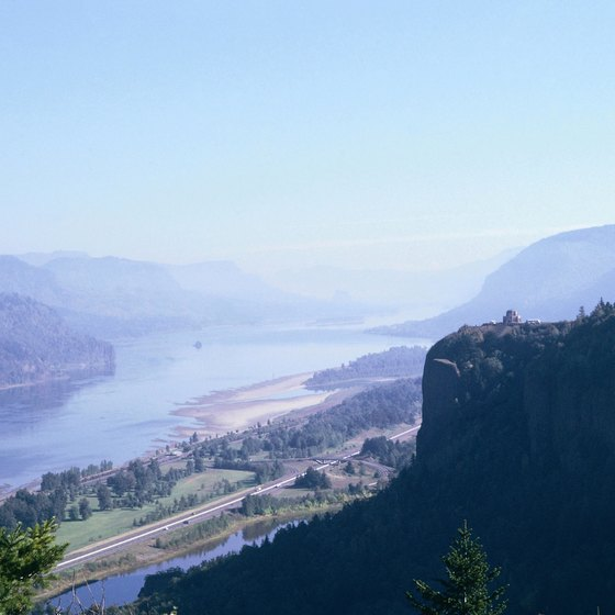 Rooster Rock is at the western end of the Columbia River Gorge.