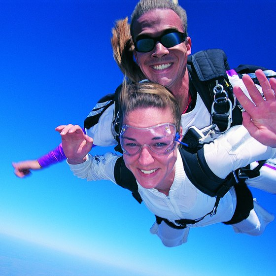 Skydiving near Parkville, Missouri, allows first-timers and hobby skydivers a view of the Kansas City skyline.