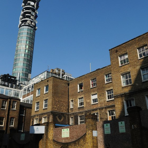 The iconic BT Tower looms large over Fitzrovia.