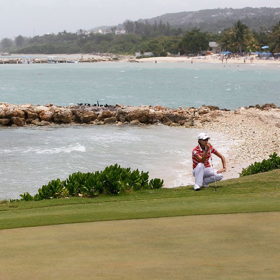 Beach resorts and golf courses line Jamaica's north shore.