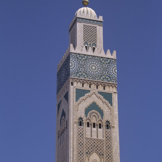 The minaret of the Hassan II Mosque in Casablanca is the world's tallest.