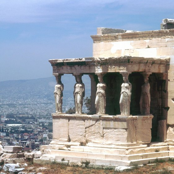 The Caryatid Porch is part of the ruins at the Acropolis.