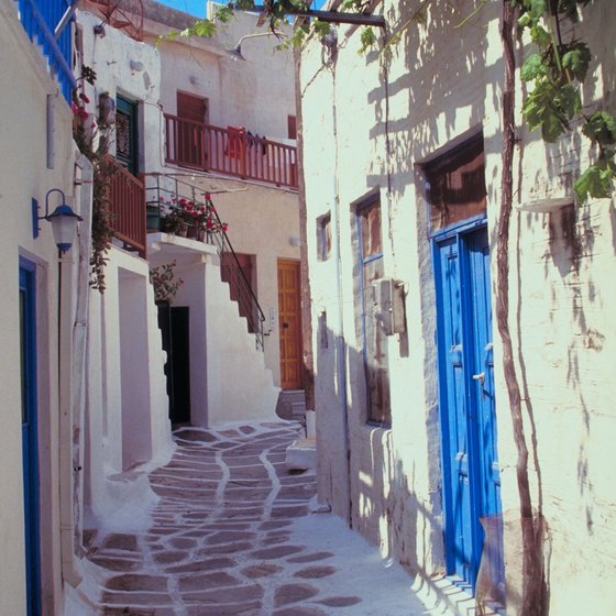 Paros has many streets lined with traditional Cycladic architecture.