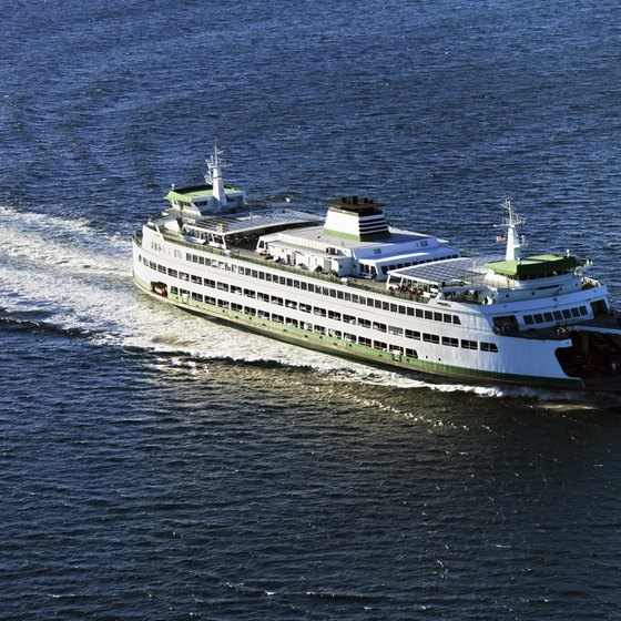 Ferry boats regularly leave Seattle for destinations around Puget Sound.