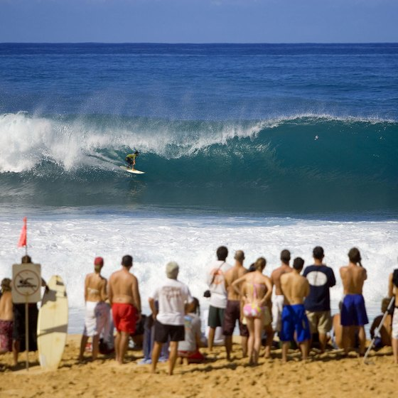 Hawaii surf competitions often draw large crowds.