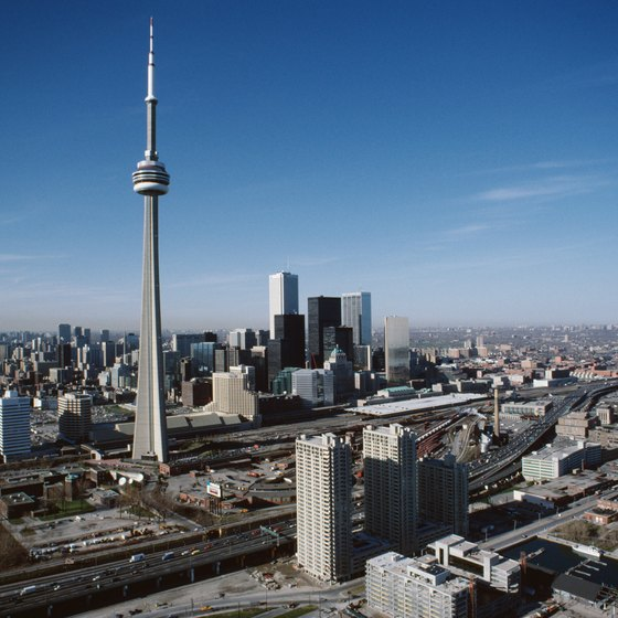 Located near Toronto's iconic CN Tower, the area around two sports venues offers a handful of hotels