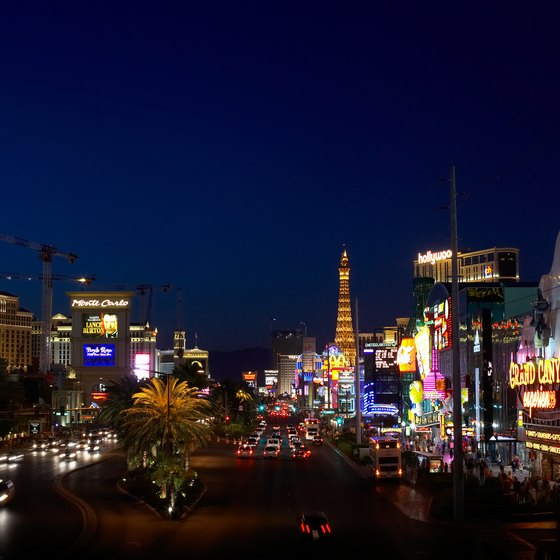The Las Vegas Strip boasts 24-hour gaming, food and entertainment.