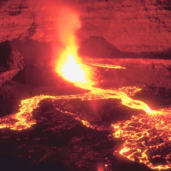 Lava flowing from volcanic activity betrays the incredible conditions under the earth.