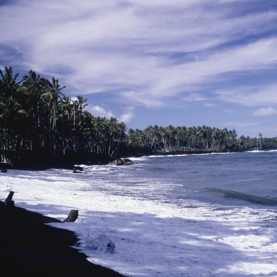 Black sand beach at Kalapana, Big Island, Hawaii.