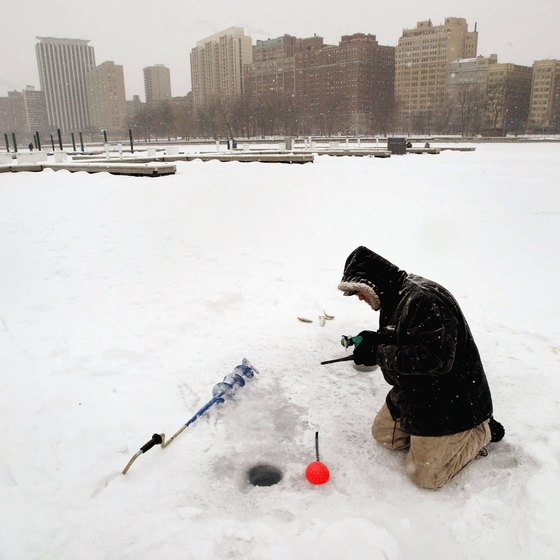 Ice fishing in Chicago's harbor
