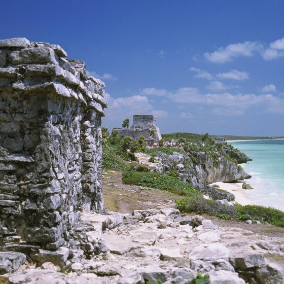 The Mayan Riviera features rocky shorelines lined with white sand beaches.