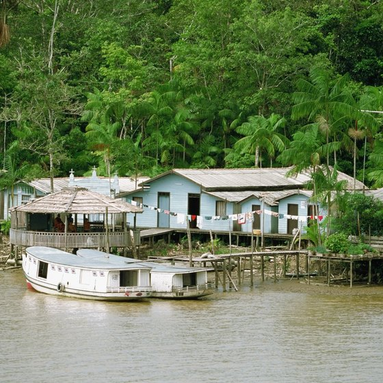 The Amazon rainforest is best explored by boat.