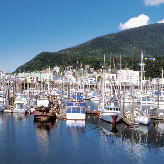 The harbor of Ketchikan is a regular port of call on Alaskan cruises.