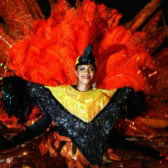 A traditional costume during the carnival celebration in Port of Spain, Trinidad.