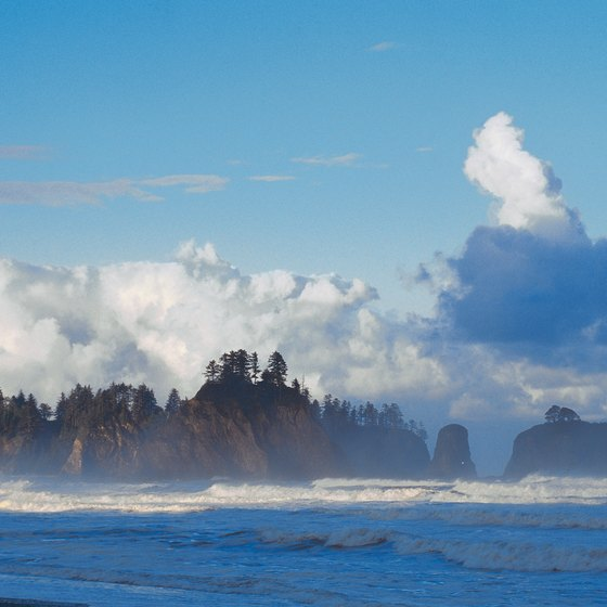 Washington State's beaches have great scenery, including the sea stacks of the Pacific Coast.