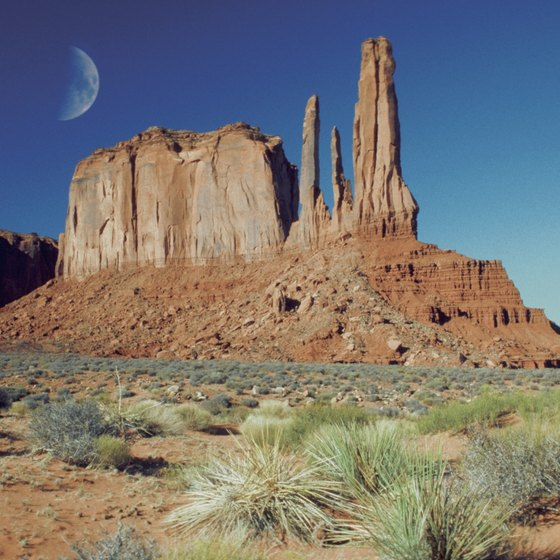 Featured in countless Westerns, Monument Valley is characterized by its massive sandstone buttes.