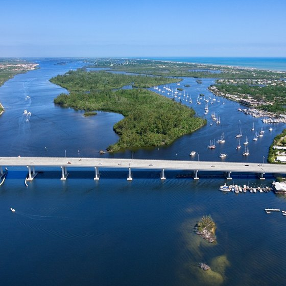 The Indian River in Florida forms part of the southern section of the Intracoastal Waterway.
