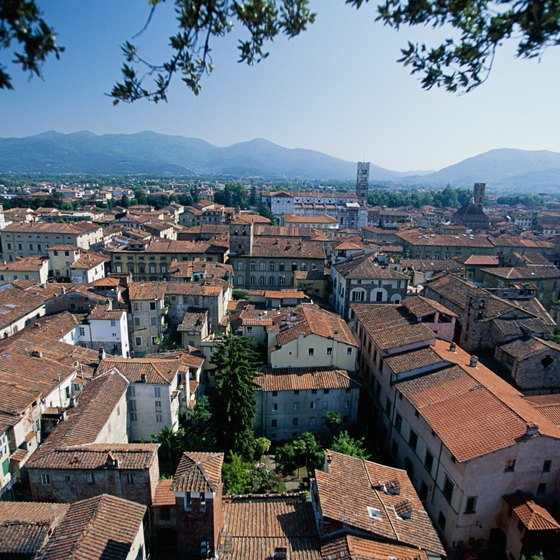 Lucca's iconic terracotta roofs top the town's many historic buildings