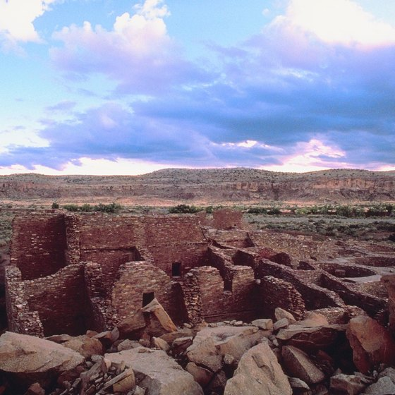A multi-room ruin in Chaco Canyon.