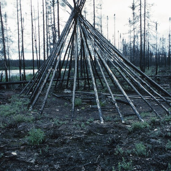 Teepees rest on a frame of poles, laid together and bound.