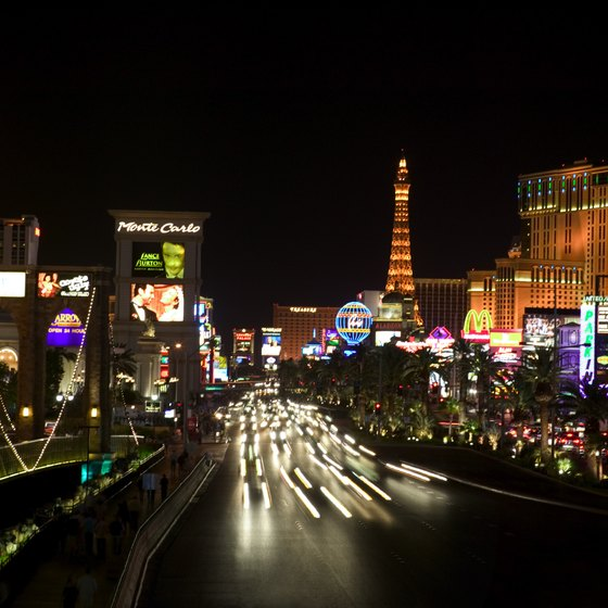 The Las Vegas Strip can be traveled by foot, car or tram.
