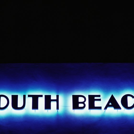 Colorful neon signs are a trademark of South Beach in Miami.