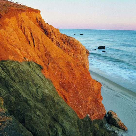 The Nashaquitsa Cliffs catch the sunset on Martha's Vineyard.