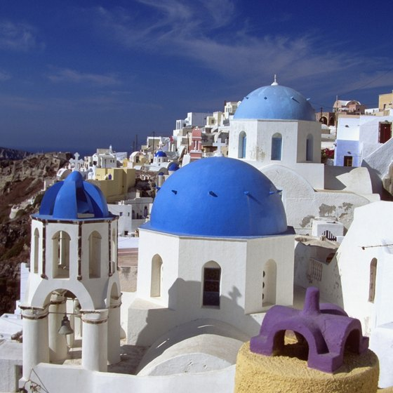 Santorini's iconic blue dome rooftops