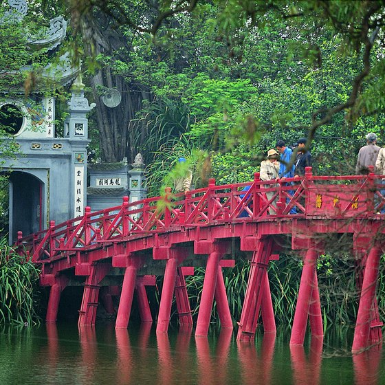 This bridge in Hanoi's Old Quarter is just about the half-way point on this massive, overland journey.