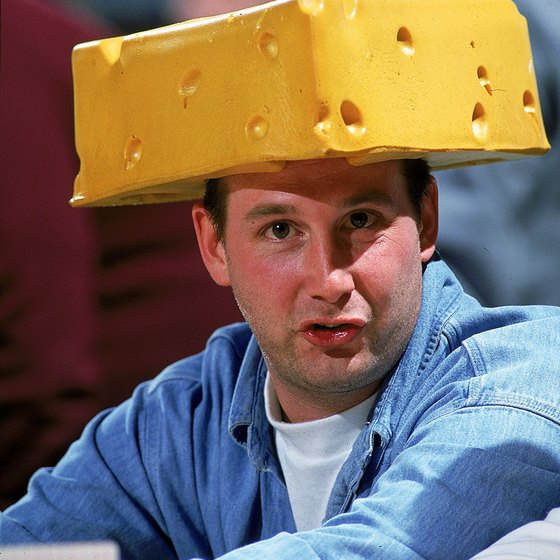 Wisconsin football fans wear cheese hats.