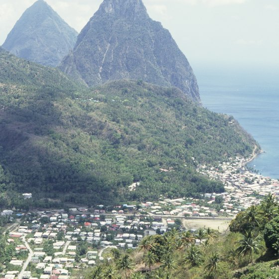 St. Lucia is a mountainous island in the Caribbean, about 100 miles west of Barbados.