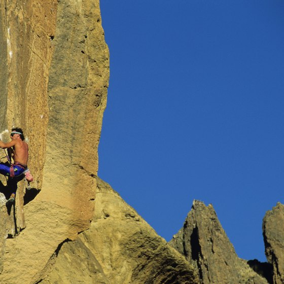 The basaltic rock formations in Smith Rock State Park attract both climbers and hikers.