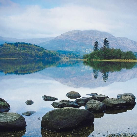 The Scottish highlands contain beautiful hills, glens and lochs.